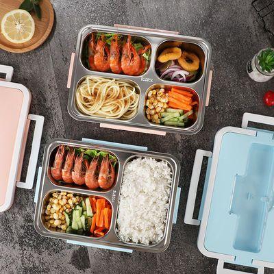 日式餐盒不锈钢304分格学生女成人饭盒便当盒微波炉加热带盖防漏