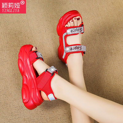 松糕鞋女2020年夏季新款网红高跟鞋厚底8cm时尚百搭水钻凉鞋ins潮