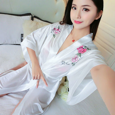 丝绸睡衣女夏季新款超级性感薄款蕾丝睡裙仙白色冰丝浴袍睡袍外穿