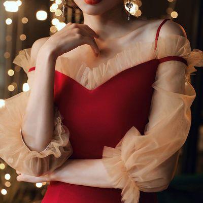 敬酒服新娘结婚订婚回门2020新款酒红色晚礼服裙女小个子平时可穿