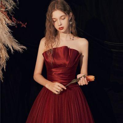 酒红色敬酒服新娘结婚订婚气质高贵显瘦晚礼服女平时可穿2020新款
