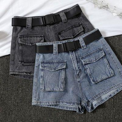 秋冬新款洋气灰黑色牛仔短裤女高腰配腰带大口袋休闲工装阔腿热裤