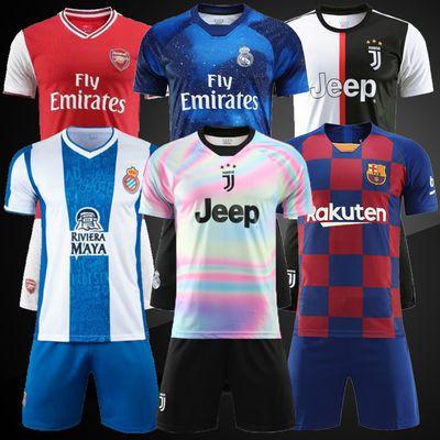 足球服短袖套装男尤文7号C罗巴萨皇马10号梅西球衣儿童训练服定制