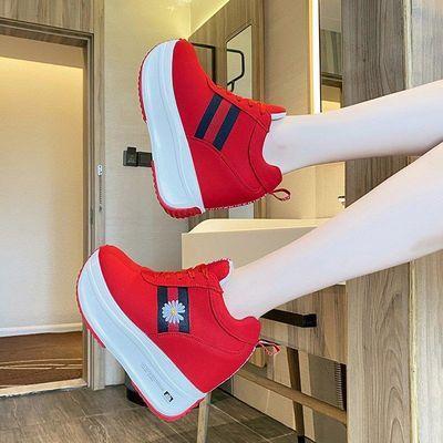 内增高女鞋厚底小雏菊运动鞋2020新款春夏透气韩版百搭休闲松糕鞋