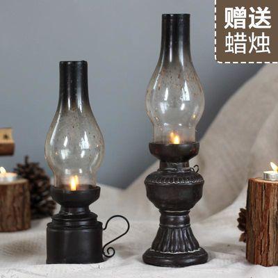 复古老式煤油灯摆件树脂烛台道具咖啡厅装饰品创意酒吧工艺品摆设