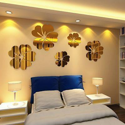 木槿花亚克力3D立体墙贴客厅卧室电视背景墙浴室装饰镜面自粘贴画