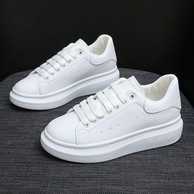 鞋子女学生韩版百搭麦昆小白鞋休闲鞋女增高鞋女厚底鞋女真皮女鞋