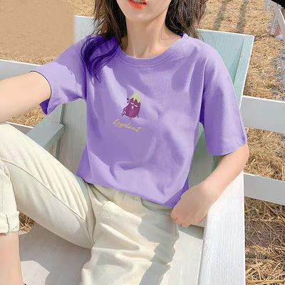 韩版百搭夏季新款水洗纯棉水果ins字母印花宽松短袖T恤女学生上衣