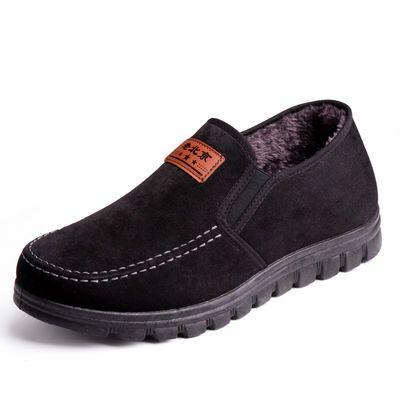 老北京布鞋男秋冬新款加绒保暖中老年爸爸鞋软底老人休闲鞋男棉鞋