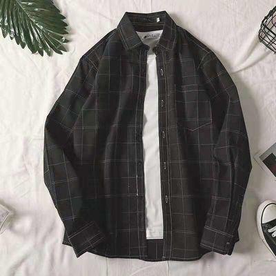 200斤大码黑色衬衫男士宽松韩版5xl码格子衬衣外套加肥学生长袖男