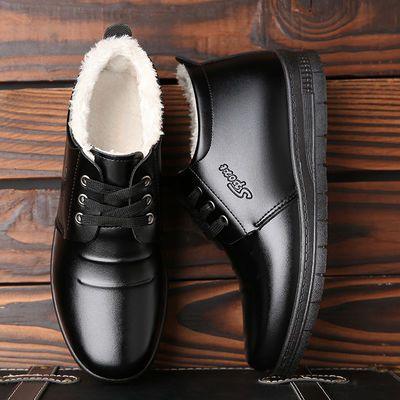 棉鞋男冬季保暖中老年人爸爸男士棉靴高帮休闲加绒加厚棉皮鞋男鞋