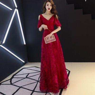 新娘敬酒服结婚孕妇高腰晚宴红色礼服回门2020新款夏季小个子礼服