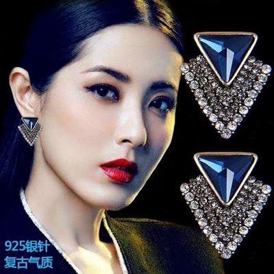 网红同款耳坠满钻耳钉耳环女纯银个性感百搭时尚气质韩国复古耳饰