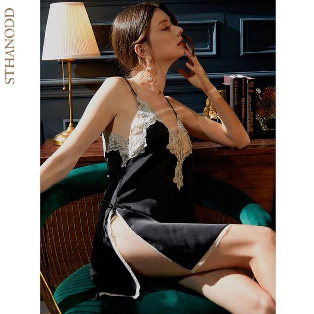 比加诺 性感吊带睡裙女夏季薄款蕾丝露背睡衣家居服 意大利轻奢