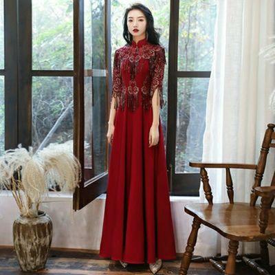25098/结婚敬酒服新娘2021新款平时可穿酒红色订婚晚宴礼服裙女旗袍长款