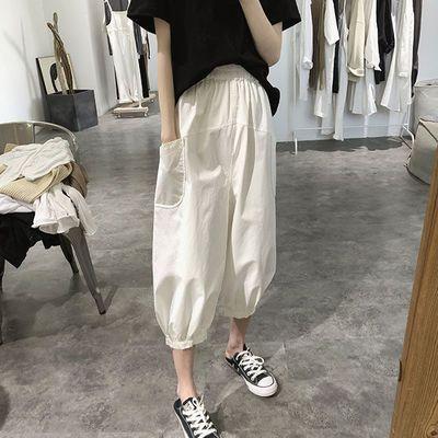 纯棉灯笼裤女夏季新款宽松大码显瘦阔腿口袋休闲七分裤高腰萝卜裤