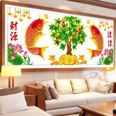 ?棉线十字绣客厅大幅发财树精准印花十字绣财源滚滚招财树年年有