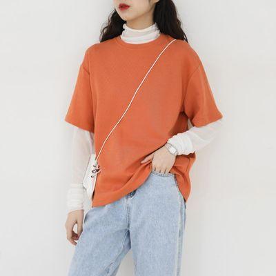 金大班山河2020春新款橙色短袖T恤+网纱长袖打底衫叠穿两件套装女