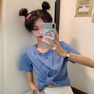 含棉设计感短袖T恤女装夏季2020新款韩版露脐短款打底衫紫色上衣