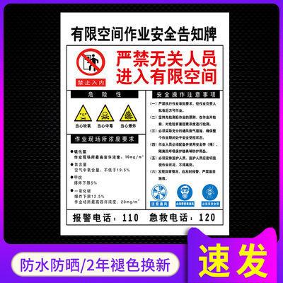 有限空间安全警示牌有限空间进入需许可提示牌进入受限空间作业危
