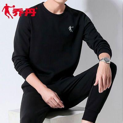乔丹运动卫衣男2021春季新款圆领套头衫宽松大码白色长袖T恤男装