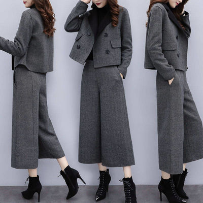 新款女装2020秋冬两件套裤人字纹毛呢外套阔腿裤休闲时尚套装女潮