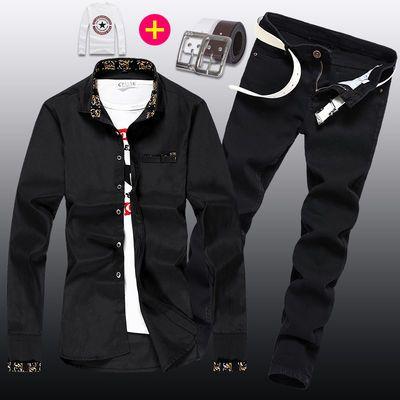 7匹狼新款休闲男士一套纯黑色衬衫和长裤子牛仔套装韩版潮流纯色