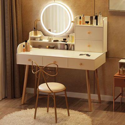 宜家梳妆台 现代小户型收纳柜一体化妆台卧室网红LED灯镜子化妆桌