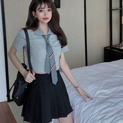 新款jk制服大码套装女领带短款上衣黑色百褶裙学院风性感两件套裙