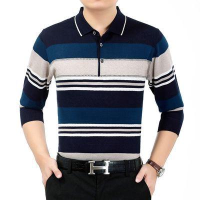 中年男士长袖t恤爸爸装40-50岁 打底衫男士外穿秋衣带领上衣外套