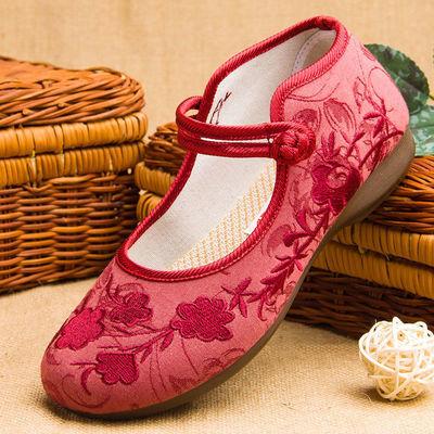 老北京布鞋女绣花鞋民族风平底老年人复古单鞋2020新款老人花朵鞋