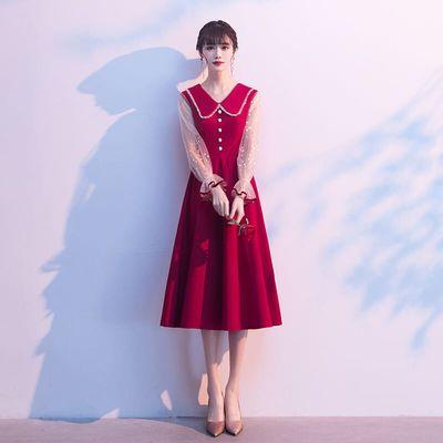 大气新娘敬酒服2020新款平时可穿红色回门便装结婚订婚小礼服裙女