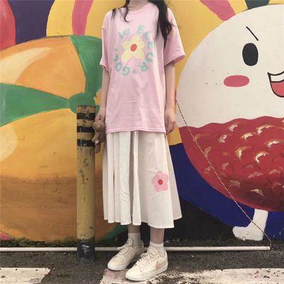 韩国少女粉色小花花短袖T恤+泫雅学院风简约宽松花朵半身长裙学生
