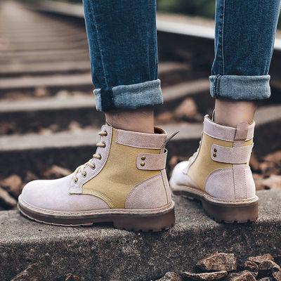 秋冬男士工装鞋劳保鞋马丁靴低帮男英伦休闲男士工装大头皮鞋