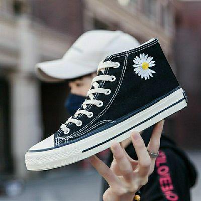 小雏菊高帮帆布鞋男ins韩版潮流鞋子情侣鞋夏季经典款