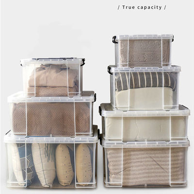 特大号透明塑料衣服收纳箱加厚透明有盖玩具收纳盒整理箱储物箱