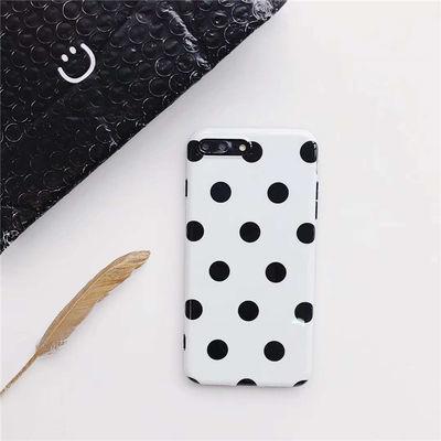 贾静雯同款黑白波点iphone7/8全包软6s手机壳ins 苹果X/XS保护套