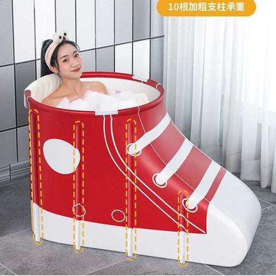 32871/加厚沐浴桶折叠家用成人儿童塑料泡澡圆形保温大号免充气缸游泳池