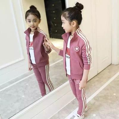 女童秋装套装休闲运动套装2020新款童装女童秋款中大童卫衣三件套