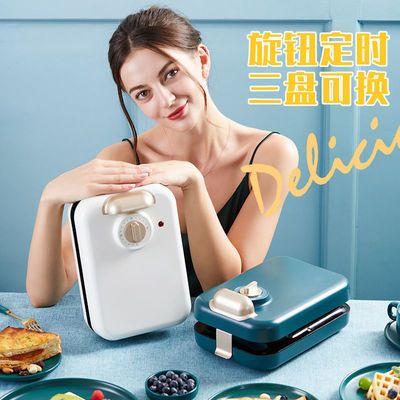 网红三明治轻食早餐机神器家用小型多功能加热吐司压烤机华夫饼机