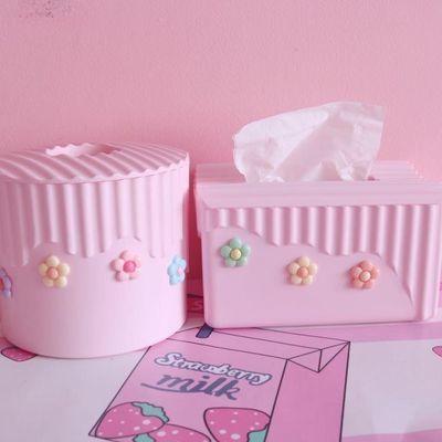 粉色少女心泫雅风小花朵纸巾盒卧室软妹塑料方形卷纸盒车载抽纸盒