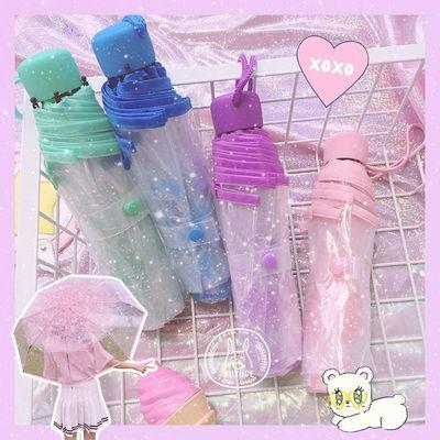 全自动浪漫樱花伞透明三折文艺日本树荫雨伞折叠长柄伞男女生儿童