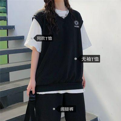 春夏装刺绣V领背心马甲女装针织新款学生韩版学院风外搭无袖上衣
