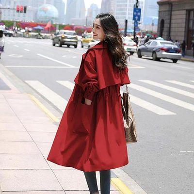 有里布春秋新款外套韩版时尚薄款英伦风大衣收腰显瘦中长款女风衣