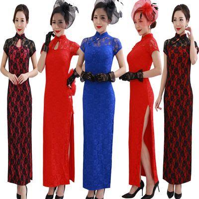 2018新款夜上海长款大码改良舞蹈表演复古旗袍演出服连衣裙中国风