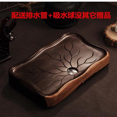 花梨木鸡翅黑檀木茶盘特大加厚整块实木 茶海长方形茶台小号