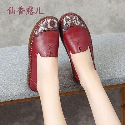 真皮女鞋2020秋冬新款中老年妈妈鞋牛筋软底深口平底老人奶奶单鞋