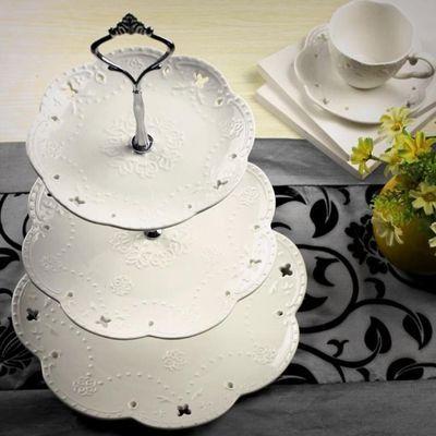 甜品台展示架摆件装饰道具冷餐摆台陶瓷多层点心展示托盘架蛋糕盘