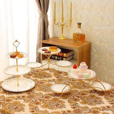 甜品台展示架多层点心托盘欧式陶瓷婚礼生日蛋糕盘架装饰摆件套装