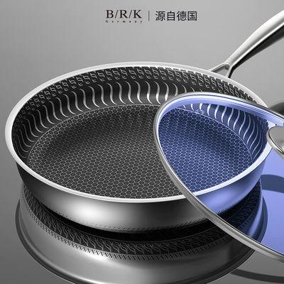 德国BRK304不锈钢煎锅平底锅不粘锅煎牛排烙饼锅燃气灶电磁炉通用